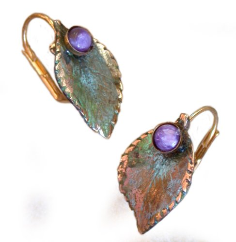 (Olive Patina Brass Sculptural Leaf Earrings - Charoite)