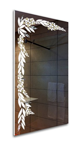 Tilebay LLC Silver Flower Led Lighted Mirror | Bathroom Mirror | Led Make-up...