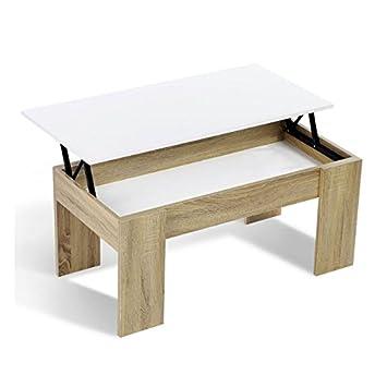 Idmarket Table Basse Avec Plateau Relevable Bois Blanc Et Imitation Hetre