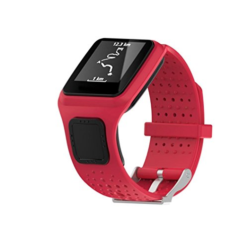 voberry-replacement-silicone-soft-band-strap-for-tomtom-multi-sport-cardio-gps-watch-red
