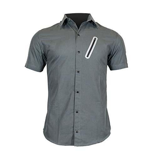 The Pedaler's Pub Shirt - Short Sleeve Casual Urban Commuter Cycling Jersey with Snaps, Zipper Pockets, and Dry Fast Wicking (Small, Charcoal)
