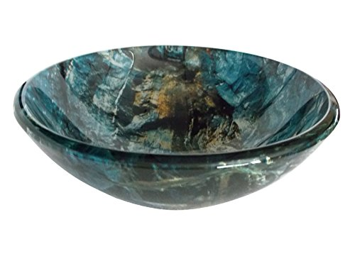 Eden Bath Cliffside Multi-Colored Round Glass Bathroom Vessel -