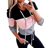 Software : Aniywn Women's Striped Long Sleeve Hoodies Pullover Blouse Casual Ladies Patchwork Sweatshirt Tops Black