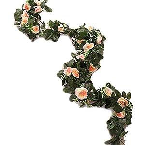 MARJON FlowersArtificial Silk Vine Flower Fake Hanging Garland DIY Peony Flower Wreath Headband Floral Crown Home Outdoor Wedding Arch Garden Wall Décor,Champagne,2 Pieces 2