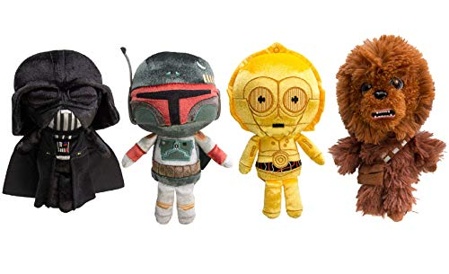 Star Wars Funko (Set of 4) Galactic Plushies Cute Stuffed Animals Star Wars Plush Toys For Kids and Adults Darth Vader Chewbacca Boba Fett C3PO
