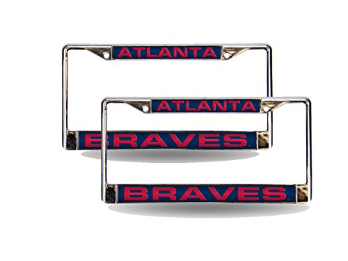 - Rico Atlanta Braves MLB Chrome Metal (2) Laser Cut License Plate Frame Set