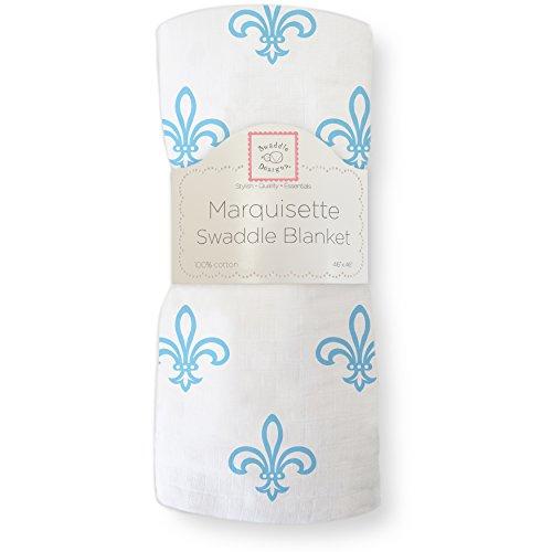 Blue Fleur De Lis - SwaddleDesigns Marquisette Swaddling Blanket, Premium Cotton Muslin, Blue Fleur de Lis