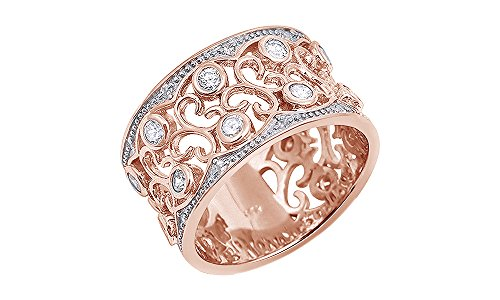 Floral Eternity Ring Design (Jewel Zone US White Cubic Zirconia Floral Design Wide Band Ring in 14k Rose Gold Over Sterling Silver)
