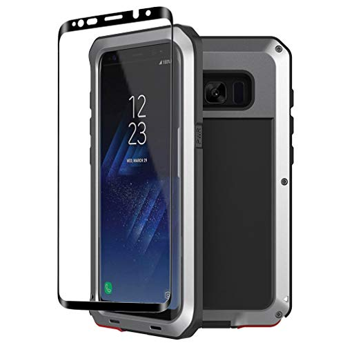 Galaxy S8 Case,Tomplus Armor Tank Aluminum Metal Shockproof Military Heavy Duty Protector Cover Hard Case for Samsung Galaxy S8 (Silver)