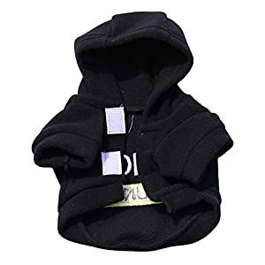 Pet Hoodie Shirt Daoroka Small Dog Cat Clothes Letter Lovely Outfit Puppy Girl Boy Pet Fashion Coat Costume Classic Apparel (XS, Black)