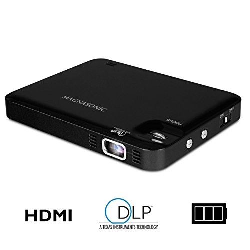 Magnasonic LED Pocket Pico Video Projector, HDMI, Rechargeable Battery, Built-in Speaker, DLP, 60 inch Hi-Resolution Display for Streaming Movies, Presentations, Smartphones, Tablets, Laptops (PP60) ()