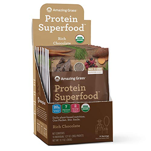 Serve Meals - Amazing Grass Protein Superfood: Organic Vegan Protein Powder, Plant Based Meal Replacement Shake with 2 servings of Fruits and Veggies, Rich Chocolate Flavor, 10 Single Serve Packets