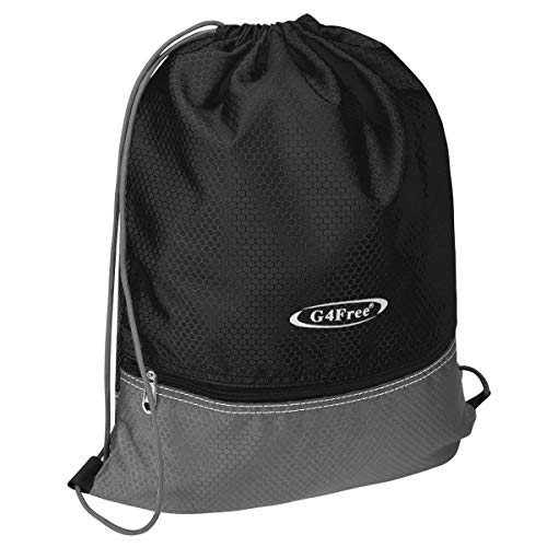 G4Free Gymbag Large Drawstring Backpack String Bag Sports Athletic Cinch Sack Gymsack Sackpack for Shopping Sport Yoga(Black) -
