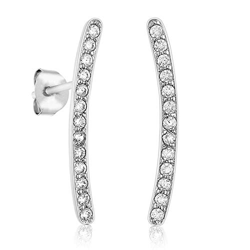 Lusoro 925 Sterling Silver AAA Cubic Zirconia Curved Pave' Ear Crawler Stud Earrings ()
