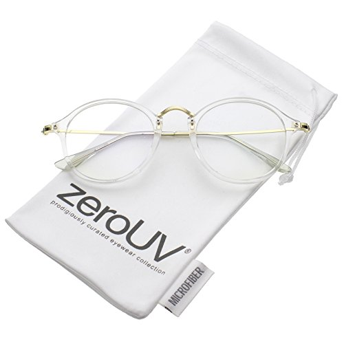 zeroUV - Classic Slim Metal Temple Clear Lens P3 Round Eyeglasses 48mm (Clear-Gold / - Eyeglasses P3