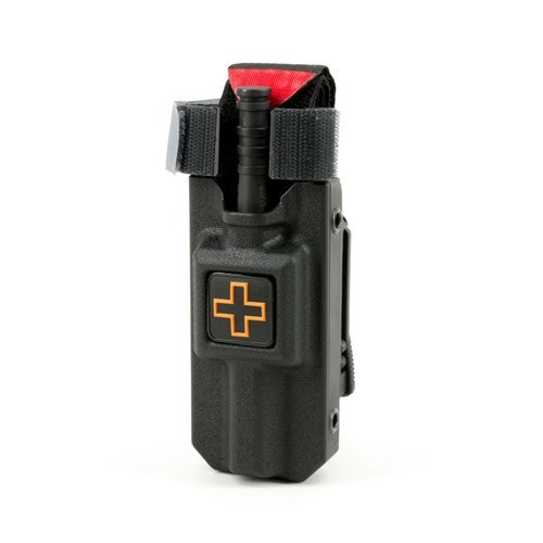 RIGID TQ Tourniquet Case for Generation 7 C-A-T Tourniquet, Belt (Tek-Lok) Attachment, Black with ORANGE CROSS. (Tourniquet Not Included)
