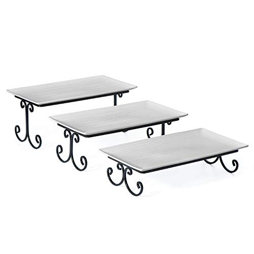 (SRIWATANA Tiered Serving Stand with Server Rectangular Platters, Three White Porcelain Food Dessert Display Tray, Party, Wedding, Birthday)