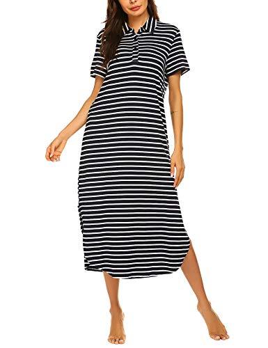 Ekouaer Maxi Nightgown Women's Polo Neck Striped Sleep Shirt Casual Button Front Lounge Dress S-XXL Blue