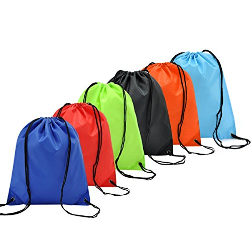Coolzon 6 Pack Drawstring Backpack Bag Nylon Folding Shoulder Tote Sack Packing Bags for Picnic Gym Sport Beach Holiday School Home Travel Storage Use 6 Different Colors