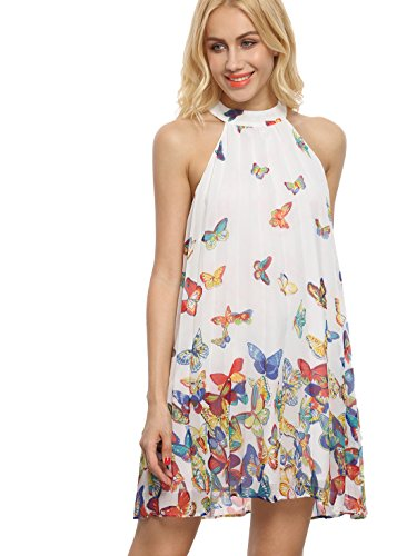Floerns Women's Summer Chiffon Sleeveless Party Dress - Medium - Multicolor -