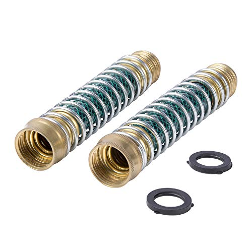 M PLUS 2PCS Garden Hose Kink Protector and Faucet Extension with Coil Spring and Brass Coupling