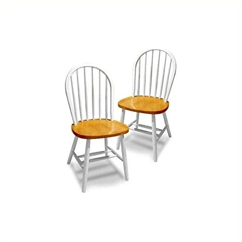 Winsome Wood Windsor Chair in Natural and White Finish, Set of 2 by Winsome Wood