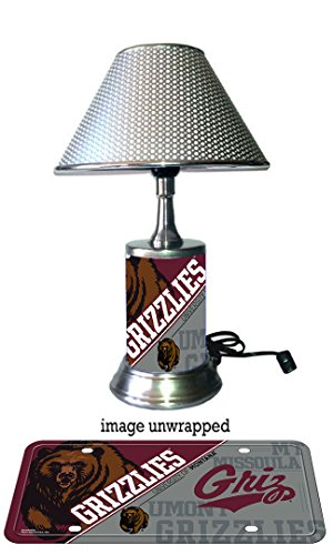 JS Table Lamp with chrome shade, Montana Grizzlies plate rolled in on the lamp base