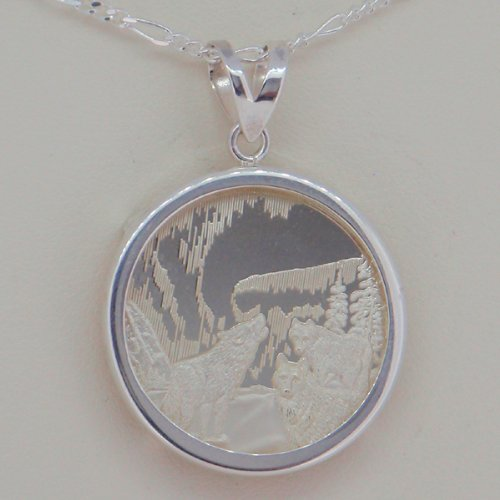 Alaska Mint Silver Medallion .999 1/4 Oz Pendant Jewelry Wolf Wolves Northern Lights Plain Edge