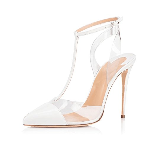 Joogo Women Lucite Clear Pointed Toe Ankle T-Strap High Heels Stiletto Sandal Pumps White Size 8