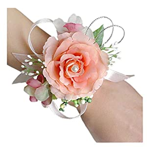 Arlai Wrist Corsage Wristband Roses Wrist Corsage for Prom, Party, Wedding Orange 102