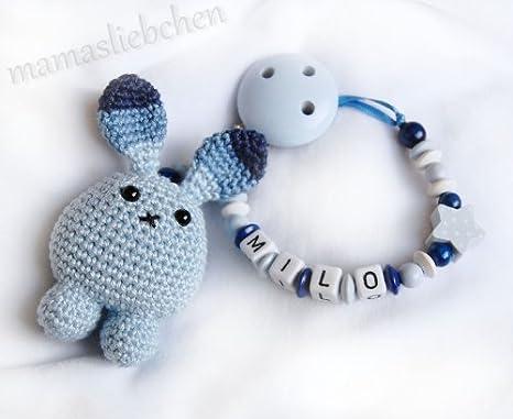 Cadena para chupete con nombres y azul hacer ganchillo, número de ...