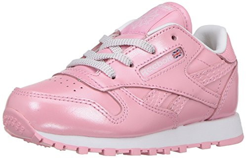 Reebok Kids' Classic Leather Metallic Sneaker, Light Pink/White, 6 M US Toddler