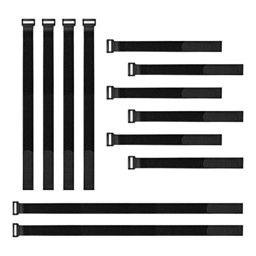 Hanete 12 pcs Reusable Fastening Cable Straps, 12-18-24 Hook and Loop Cable Tie Wraps Cinch Cable Tie Down Straps