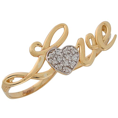 14k Two-Tone Gold White CZ Studded Ladies High Polish Love Two Finger Ring by Jewelry Liquidation
