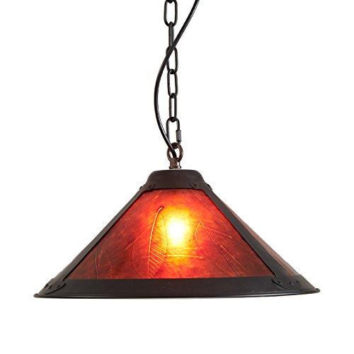 (Jiuzhuo Rustic Black Metal and Red Mica Conical Shaded 1-Light Pendant Light (Red))