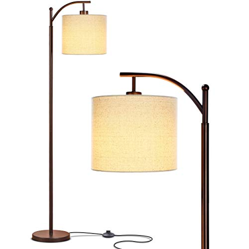 - Brightech Montage - Bedroom & Living Room LED Floor Lamp - Standing Industrial Arc Light with Hanging Lamp Shade - Tall Pole Uplight for Office - with LED Bulb - Bronze