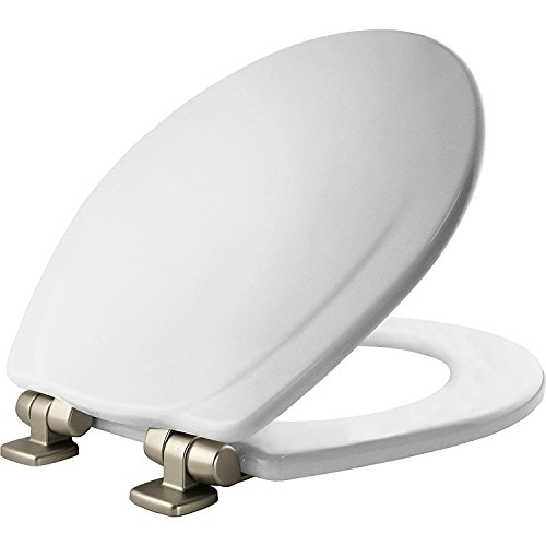 Mayfair Molded Wood Toilet Seat featuring Slow-Close, STA-TITE Seat Fastening System and Brushed-Nickel Metal Hinges, Round, White, 30NISLB 000 by Mayfair