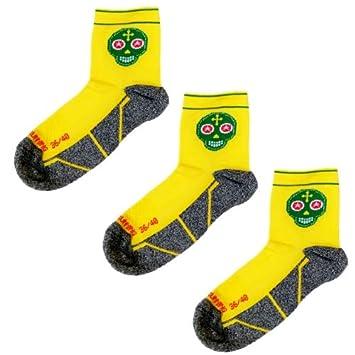 Pack Calcetines Trail Running Amarillos, 3 Pares, Hombres, Mujer, Divertidos, sin Costuras, Térmicos, Skully, Tallas 36-45: Amazon.es: Deportes y aire libre