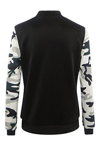 Femmes Longue L Camouflage Manche Patchwork Stand Est Cou Les Ferme Digne 6qdgfE6