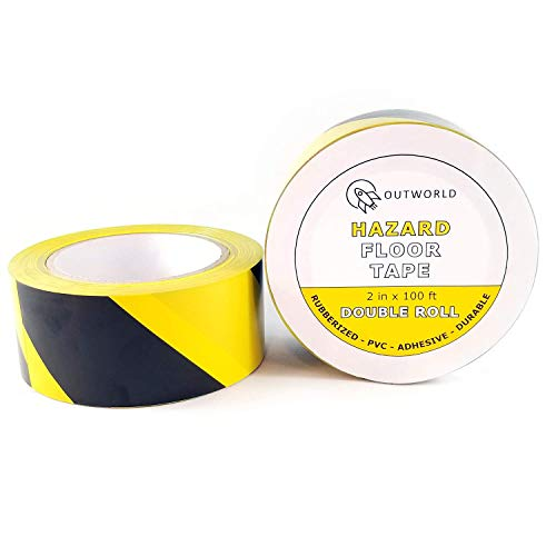 Two-Pack | Double Roll - Rubberized Adhesive Hazard Safety Floor Tape - Black and Yellow Striped - 2-inch by 100-feet - By Outworld