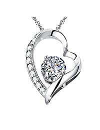 "18k White Gold Overlay Sterling Silver 925 Forever Lover ""My One and Only"" Open Heart Pendant Necklace"