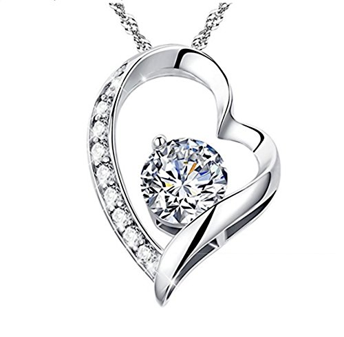 "Gold Diamond Open Heart (Valentines Day Gift Women Girls- Simulant Diamond Open Heart 18k White Gold Plated Sterling Silver S925 with ""You Are My Love Forever"