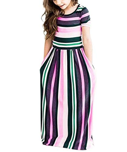 (Fashspo Girl's Summer Maxi Dress Short Sleeve Floral Casual Printed Empire Waist Long Party Dress with Pockets 2-10T)