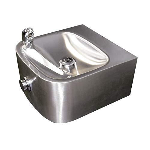 Haws 1105 Satin Finish 18 Gauge 304 Stainless Steel Wall Mounted Drinking Fountain with Single Bubbler (Mounting Frame Not Included)