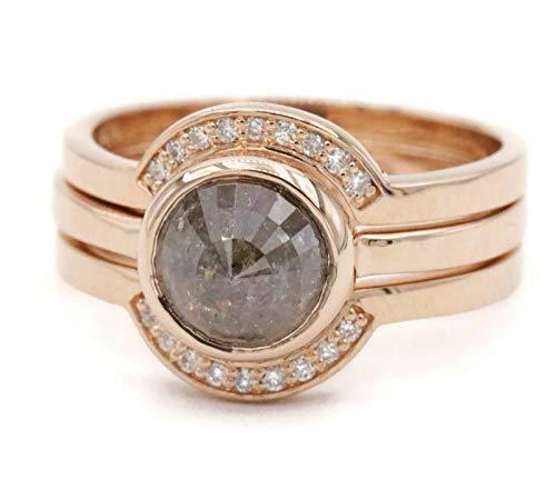 Rose cut diamond stacking 3 rings set in rose gold ()