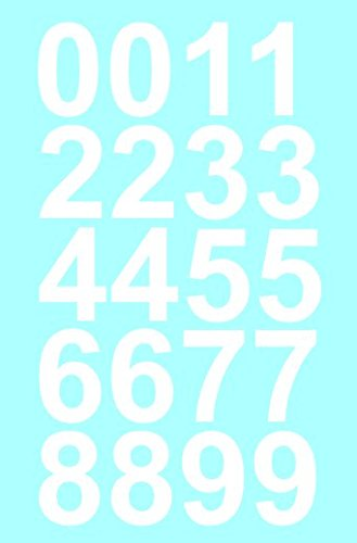 """1"""" Inch Premium Mailbox Number Vinyl Decal Sticker Sheet (White) 