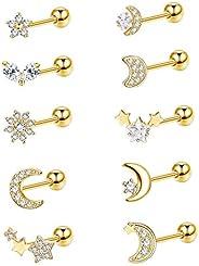 Thunaraz 10Pcs Cartilage Earrings Helix Tragus Earring Moon and Star Earrings CZ Heart Flower Barbell Surgical