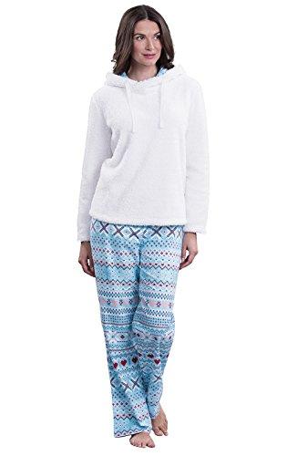 PajamaGram Fleece Top Fair Isle Flannel Women's Pajama, multicolored, 1X (Crossover Pajama Pants)