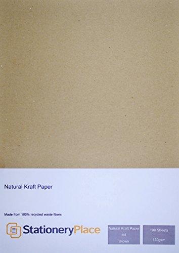 Stationery Place Kraftpapier, A4, 130 g/m², 100% recycelt, Braun, 100 Stück