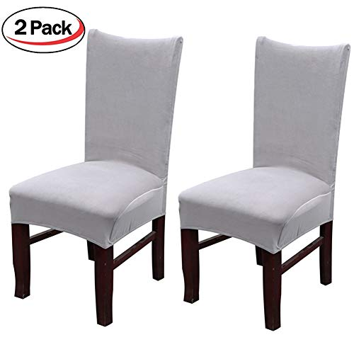 Smiry Velvet Stretch Dining Room Chair Covers Soft Removable Dining Chair Slipcovers Set of 2, Light Grey by Smiry